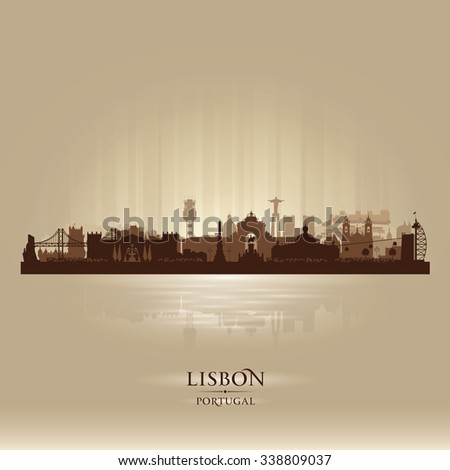 Lisbon Portugal city skyline vector silhouette illustration - stock vector