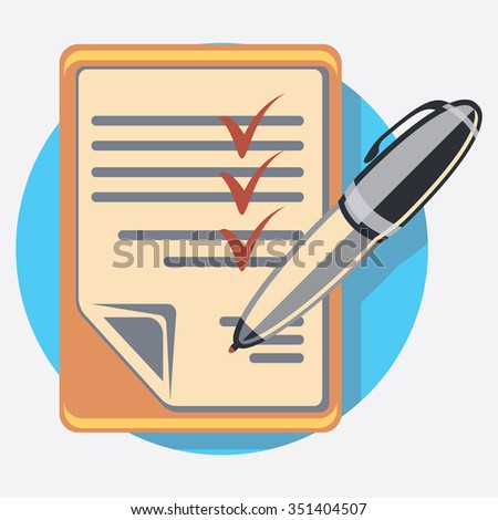 list circle icon with shadow - stock vector