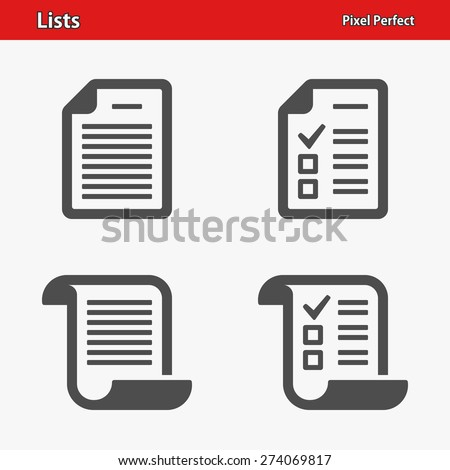 List Icons. Professional, pixel perfect icons optimized for both large and small resolutions. EPS 8 format. - stock vector