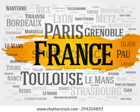 List of cities in France. Paris word cloud concept - stock vector
