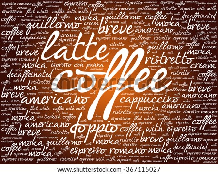 List of coffee drinks words cloud, poster background - stock vector