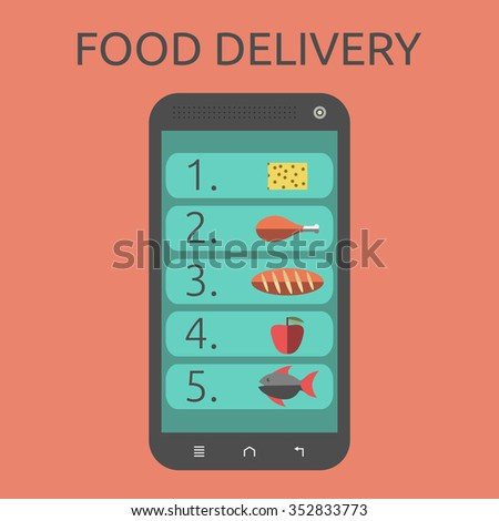 List of food on smartphone screen. Isolated on orange background. Flat style. Food delivery concept. EPS 8 vector illustration, no transparency - stock vector