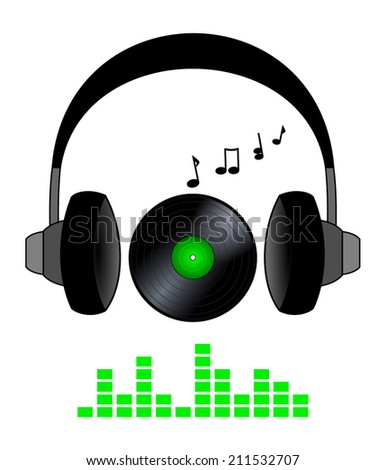 Listen to music, icon. headphone, vinyl lp record, notes and equalizer. black, gray and green color design. dj symbol vector art image illustration, isolated on white background - stock vector