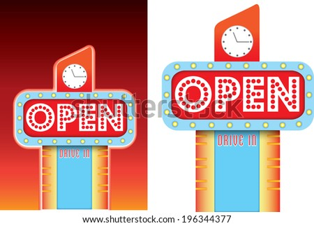 lit up 1950s neon retro sign with a big flashing open sign - stock vector