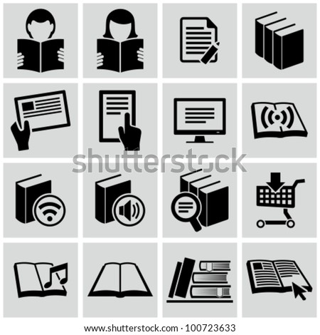 Literature and e-book icons set. - stock vector