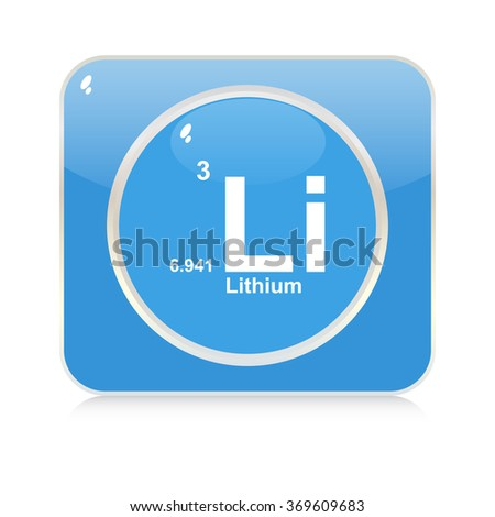 lithium chemical element button - stock vector