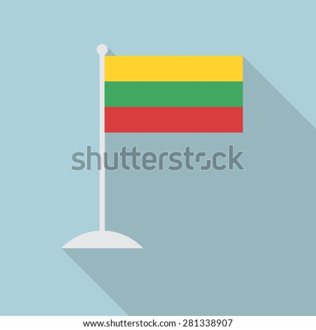 Lithuania flag with flagpole flat icon with long shadow. Vector illustration EPS10 - stock vector