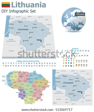 Lithuania maps with markers - stock vector