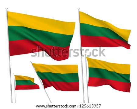 Lithuania vector flags. A set of 5 wavy 3D flags created using gradient meshes - stock vector