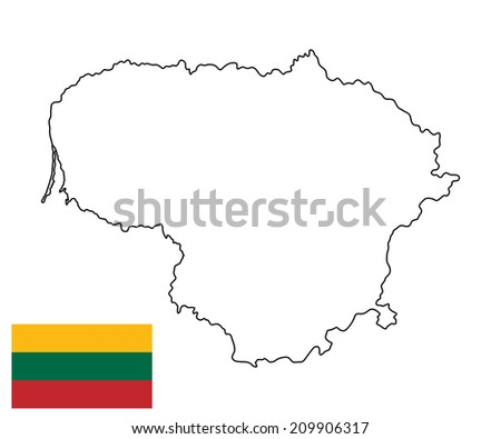 Lithuania vector map and vector flag, high detailed silhouette illustration isolated on white background.  - stock vector