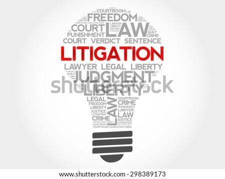 Litigation bulb word cloud concept - stock vector