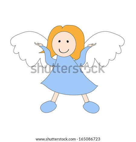 Litlle angel. vector illustration. - stock vector