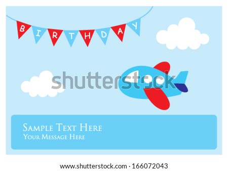 little airplane birthday greeting card - stock vector