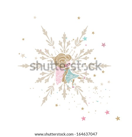 little angel sitting in snowflake - stock vector
