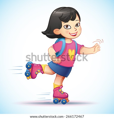 Little asian girl riding on roller skates. Happy child enjoys the speed and freedom. Cute cartoon china girl with inline skates and backpack.  - stock vector