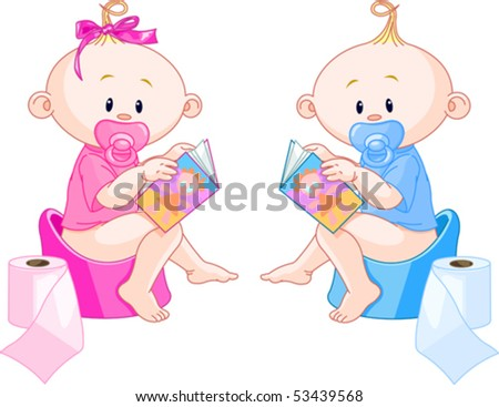 Little babies ? girl and boy are sitting on potties with open books - stock vector