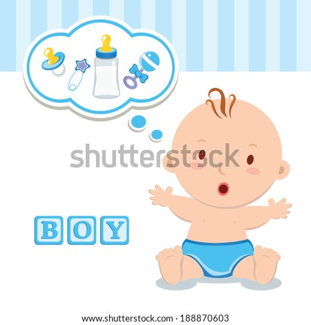 Little baby boy. It's a boy! Beautiful baby boy with thinking bubble. - stock vector