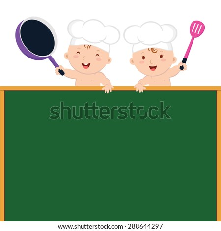 Little baby chefs with board. Cute baby chefs holding frying pans and spatula and frying pan. - stock vector