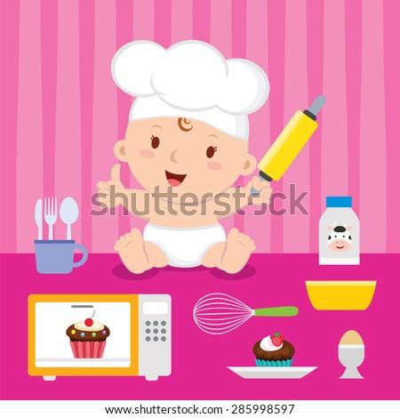 Little baker baby girl. Cheerful baby with baking utensils. - stock vector