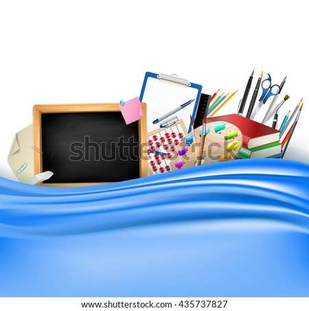 little blackboard border with notepad sheets, color pencils, pens, ruler,art palette, pile of books and blue silky curtain. school vector horizontal background - stock vector