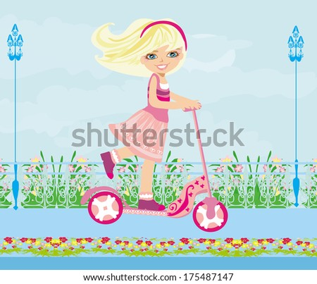 Little blonde girl riding a scooter  - stock vector