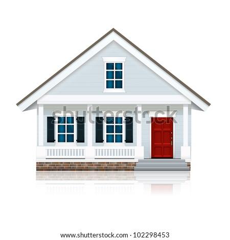 Little Blue House - stock vector