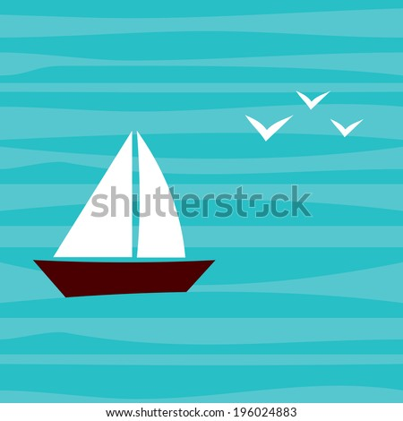 Little Boat with Seagulls in the Sea. Summer Vector Background.  - stock vector