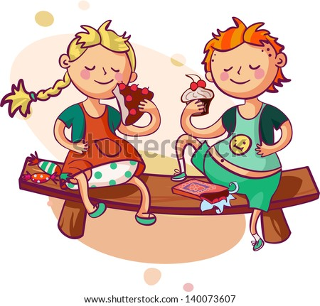 little boy and girl eating sweets - stock vector
