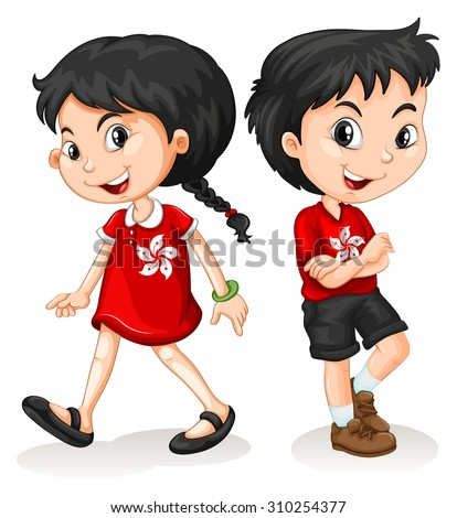 Little boy and girl from Hong Kong illustration - stock vector