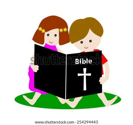 Little boy and girl reading bible isolated on white  - stock vector