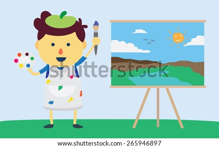 Little boy artist made art with watercolor painting on canvas frame, this talent of some kid have good progress - stock vector