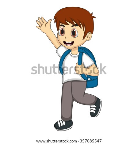 Little boy carrying a backpack and waving his hand cartoon vector illustration - stock vector