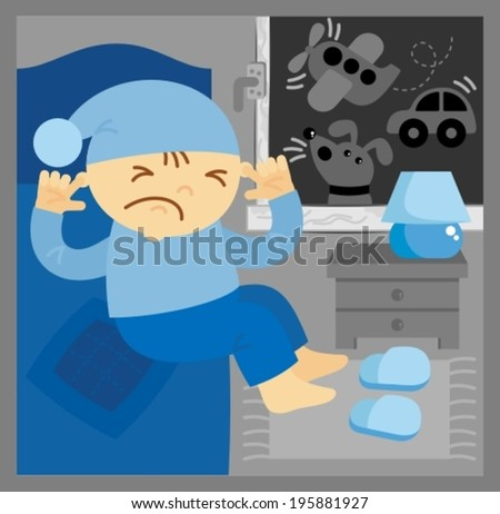 little boy could not sleep in a noisy room - stock vector