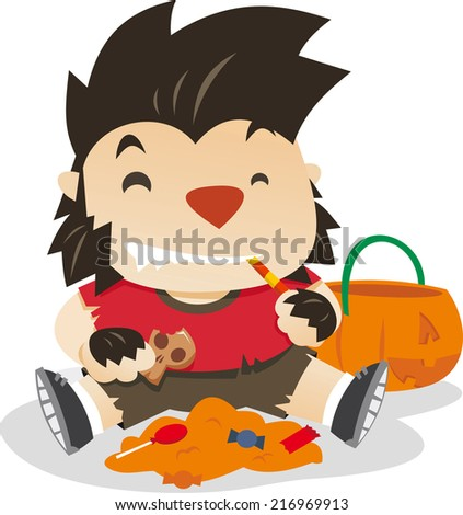Little boy dresses as werewolf in halloween night vector cartoon illustration - stock vector