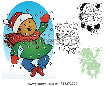 Little boy enjoying the snow - stock vector
