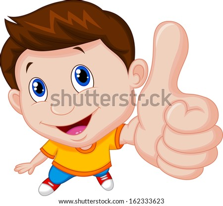 Little boy giving you thumbs up - stock vector