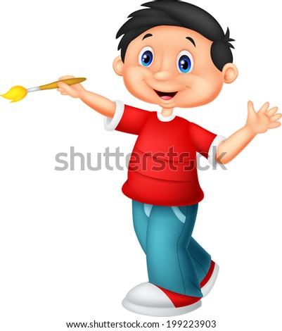 Little boy holding brush - stock vector