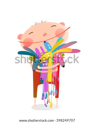 Little boy holding rabbits fun toys. Small kid hugging bunnies. Happy child, adorable kid with smiley face, vector illustration - stock vector