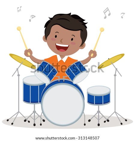 Little boy playing drum. Vector illustration of a little boy playing drums. - stock vector