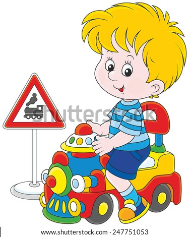 Little Boy playing with a toy train - stock vector