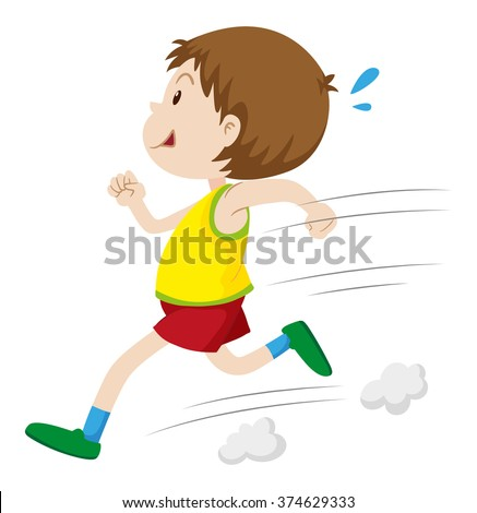 Little boy running fast illustration - stock vector