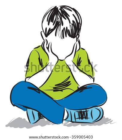 little Boy thinking illustration - stock vector