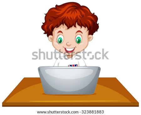 Little boy using laptop computer illustration - stock vector