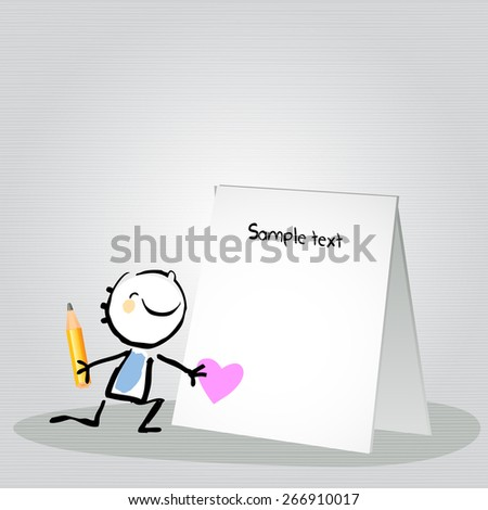 Little boy with a blank love letter. Happy kids vector doodle style sketchy  illustration, line art.  - stock vector