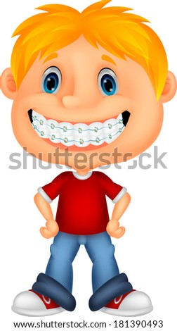Little boy with brackets - stock vector