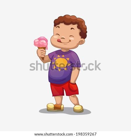 little boy with ice cream, vector - stock vector