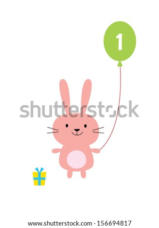 little bunny first birthday greeting card - stock vector