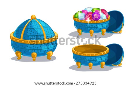 Little cartoon blue casket, closed, empty and full of gems, isolated on white - stock vector