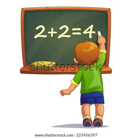 Little cartoon boy writes with chalk on a blackboard. Isolated vector illustration - stock vector