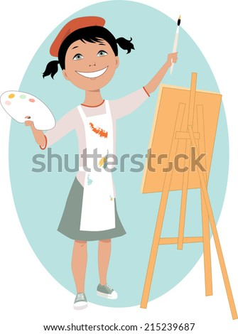 Little cartoon girl standing in front of an easel with a palette and a paintbrush - stock vector